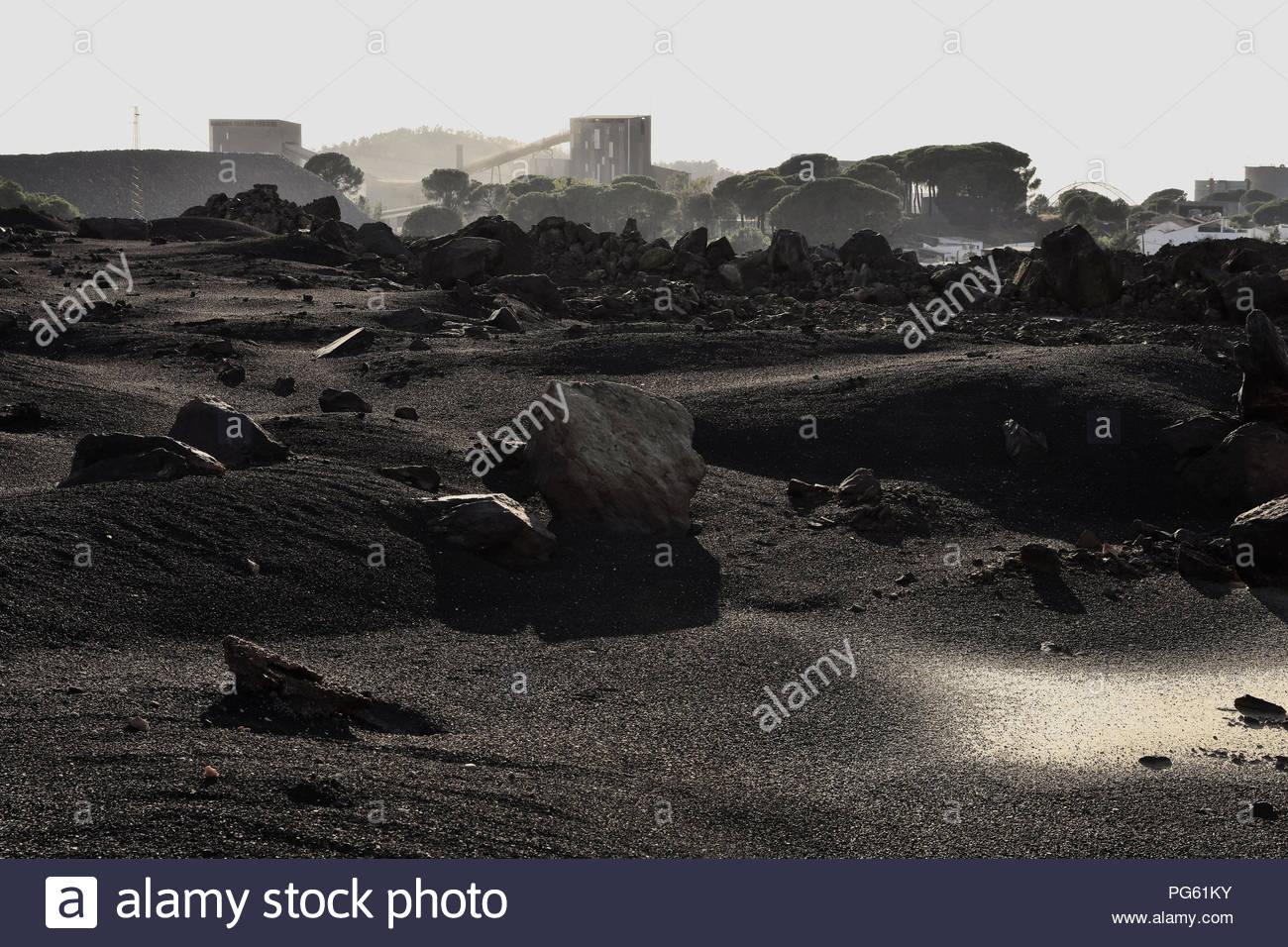 Aprire-pit superficie sito minerario per minerali vicino alla città di Minas De Riotinto Huelva Spagna del Sud Europa Immagini Stock