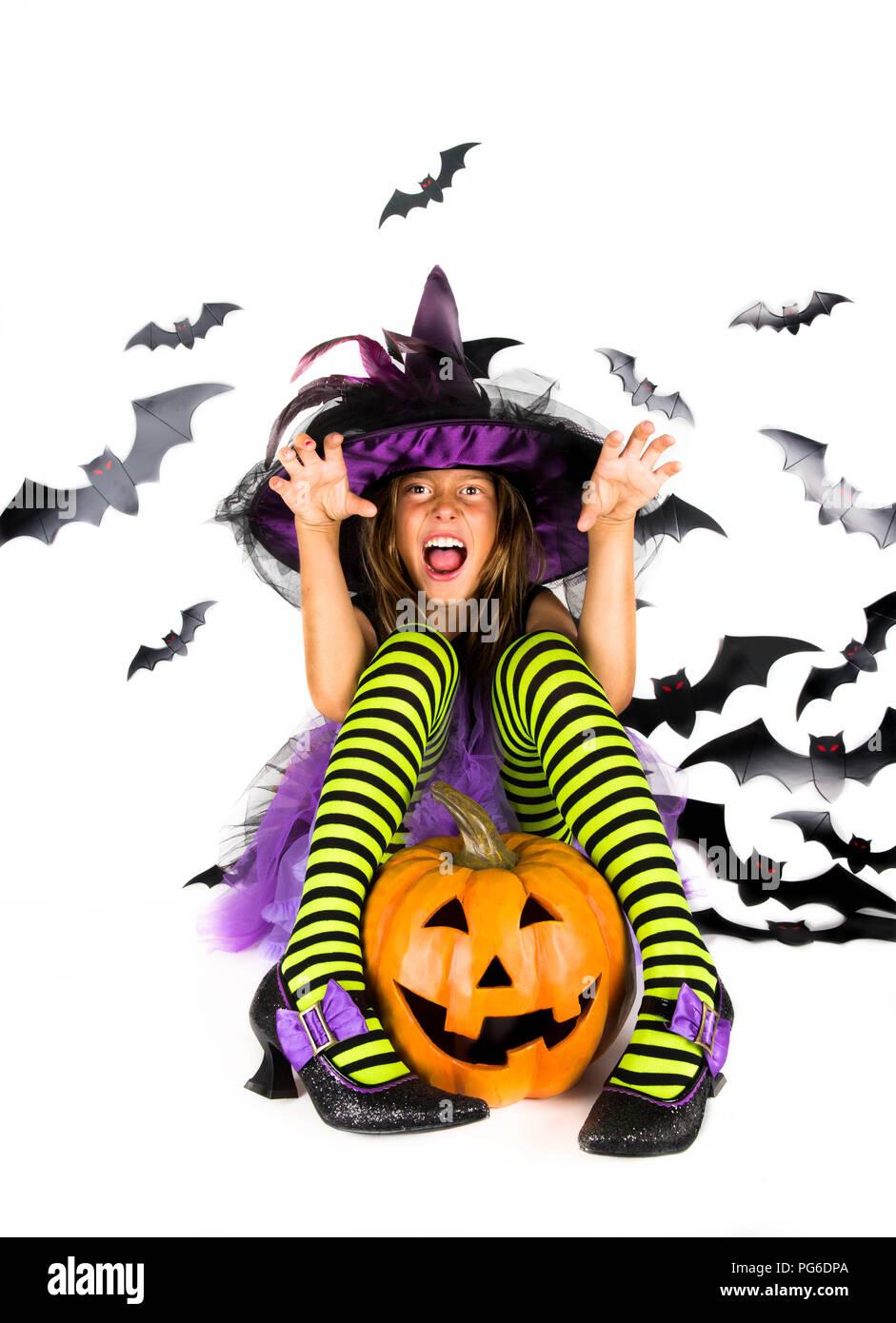 Vestiti Halloween Strega.Halloween Kids Felice Inquietante Bambina Vestito In Costume Di