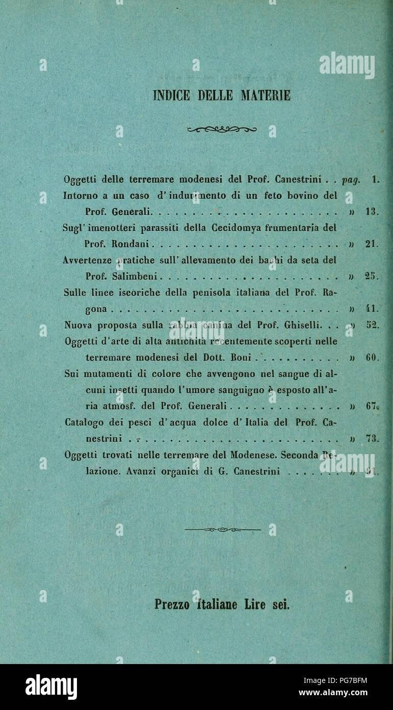 Atti della Società dei naturalisti e matematici di Modena Foto Stock