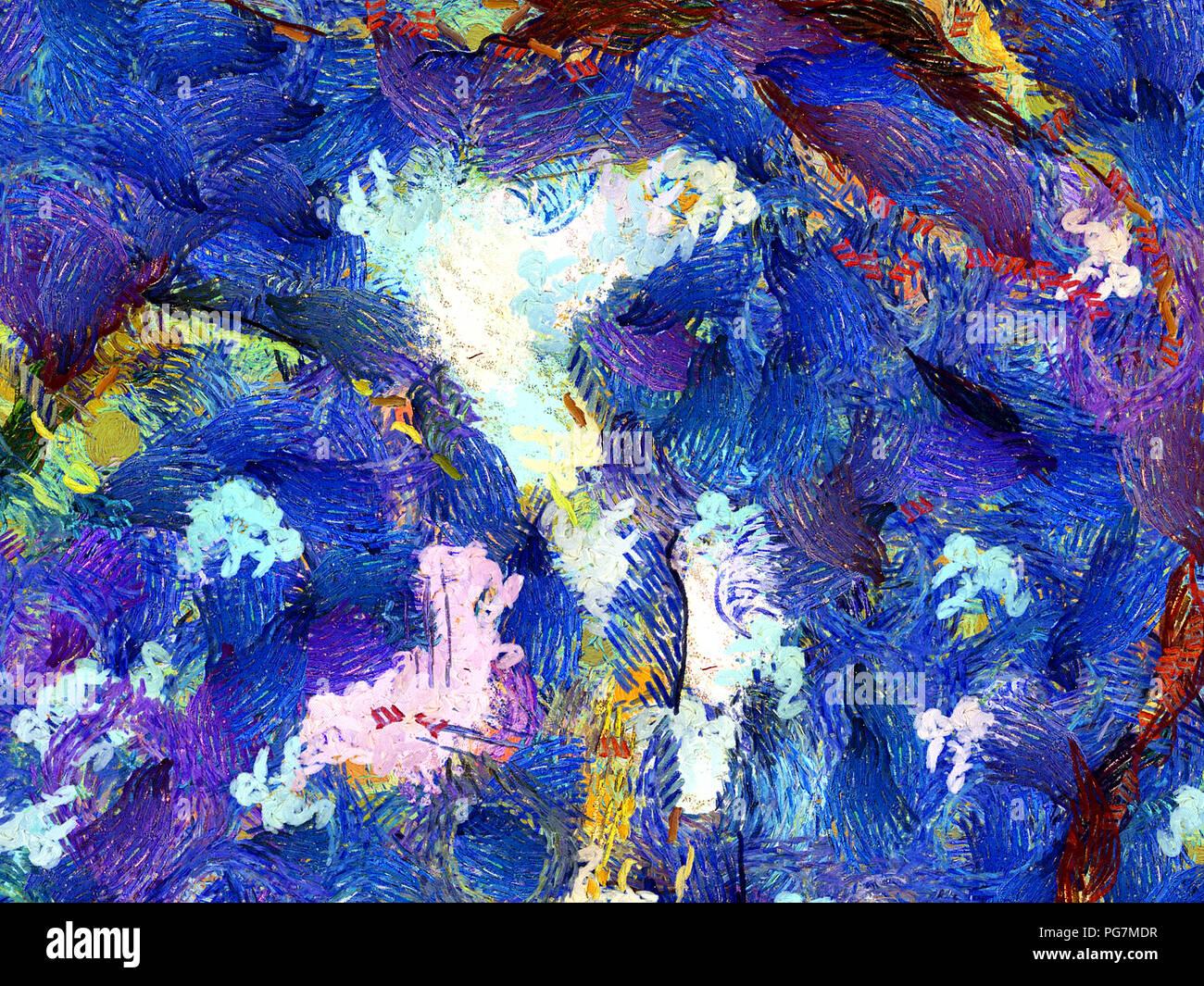 Impressionismo pittura astrazione nel Vincent Van Gogh stile. Morbide pennellate di vernice. Di luminosi colori pastello. Una pittura astratta sfondo. Disegnata a mano Immagini Stock
