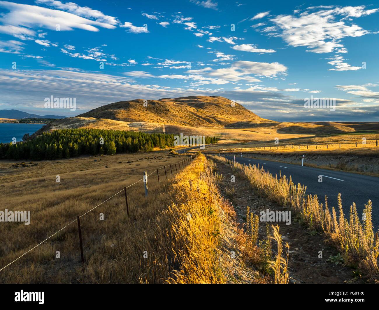 Nuova Zelanda, Isola del Sud, regione di Canterbury, tramonto vicino Lago Tekapo Immagini Stock