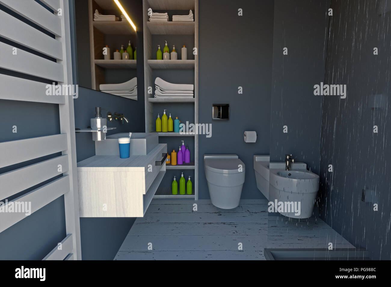 Moderno bagno completo di sanitari, doccia e accessori di ...
