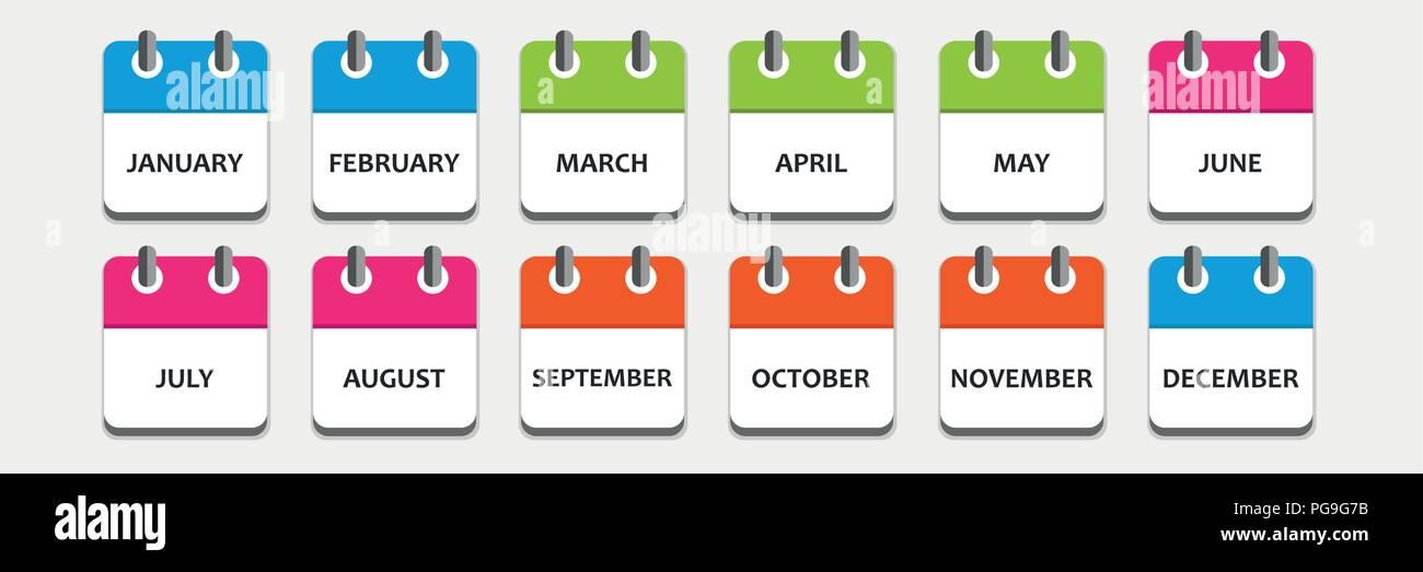Imposta Calendario.Mese Calendario Imposta Icona Illustrazione Vettoriale Eps10