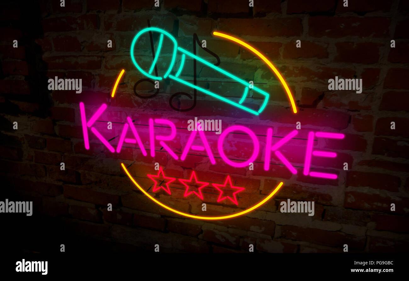 Lampade Al Neon Da Parete karaoke club lampada al neon sul muro in mattoni. luce retrò
