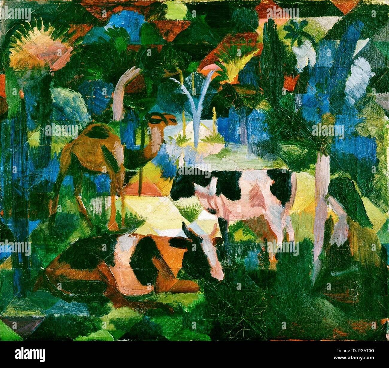 August Macke - Paesaggio con mucche e cammello. Immagini Stock
