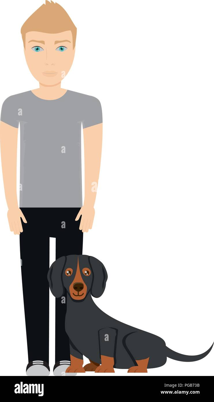 Cartoon giovane con cute cane bassotto su sfondo bianco