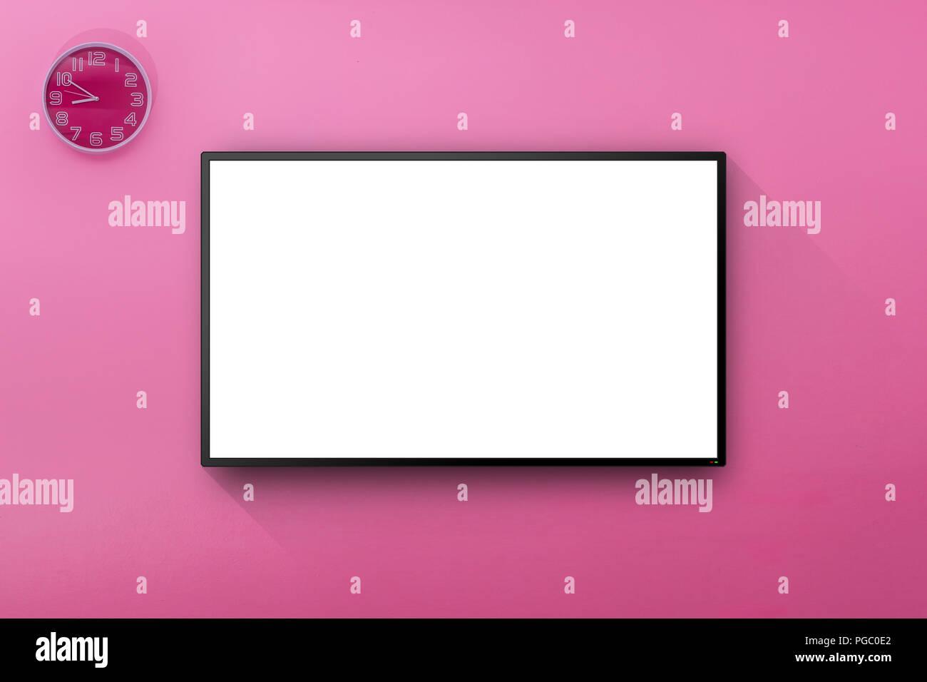 Appendere Tv Muro tv lcd a parete rosa camera con sulla parete con appendere