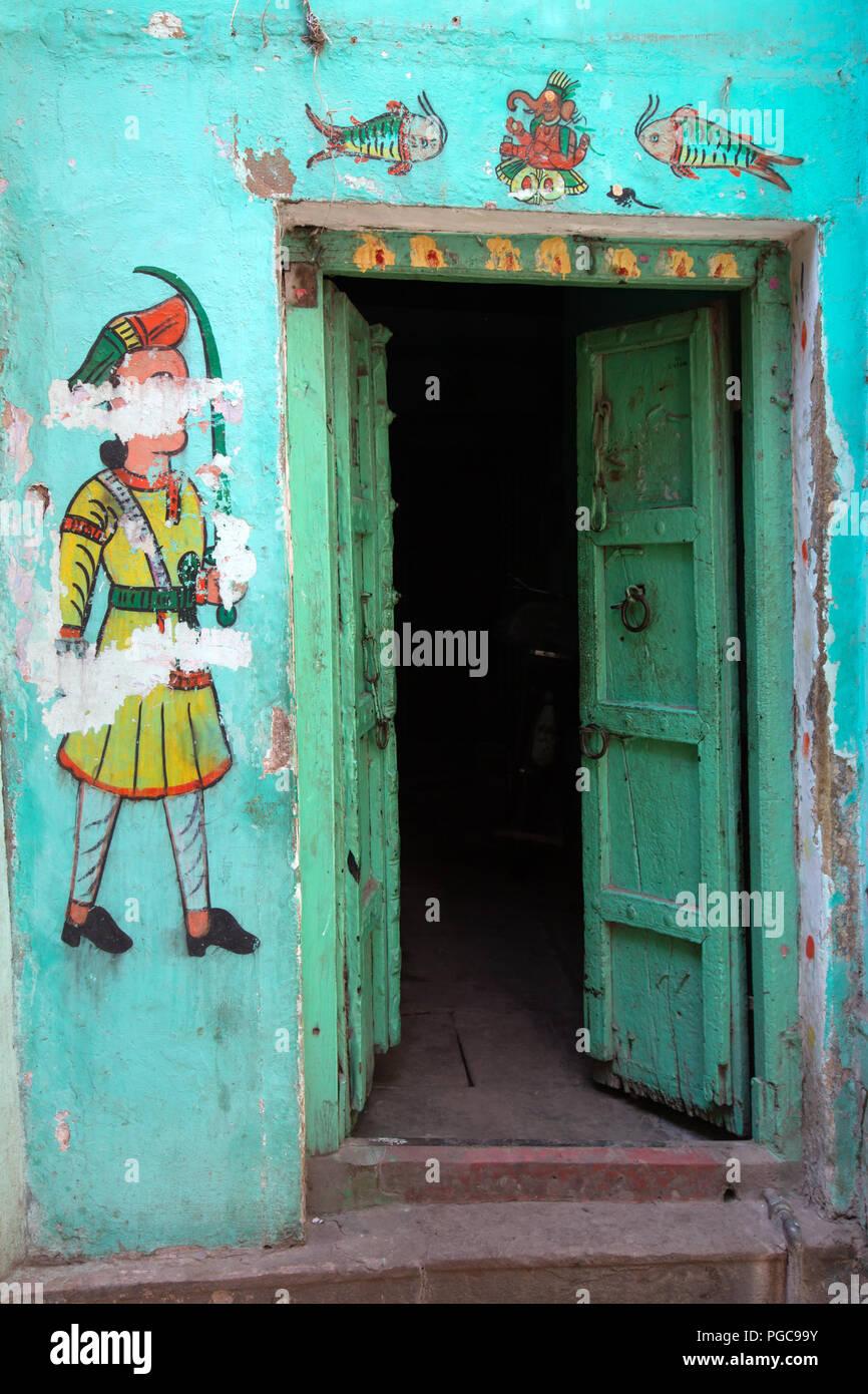 Porta di haveli in Udaipur, Rajasthan, India Foto Stock