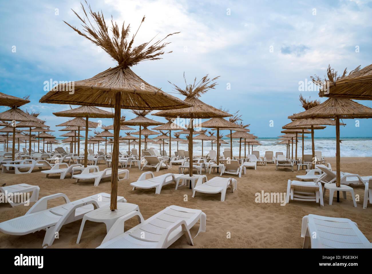 Sedie a sdraio con ombrelloni di paglia su una bellissima spiaggia