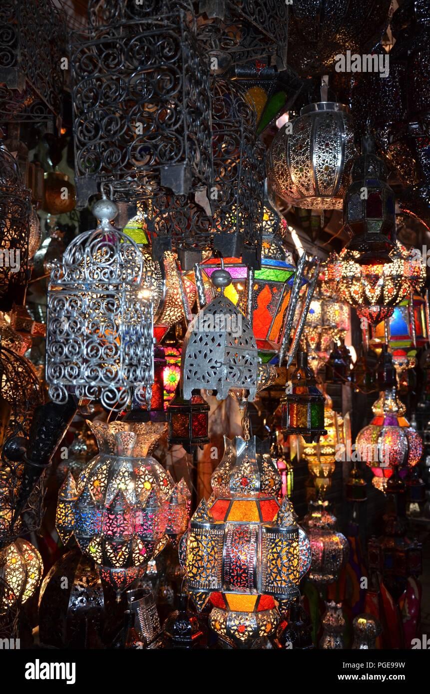 Mercato Di Marrakech Marocco Souk Lampade Vendita Vendita Di