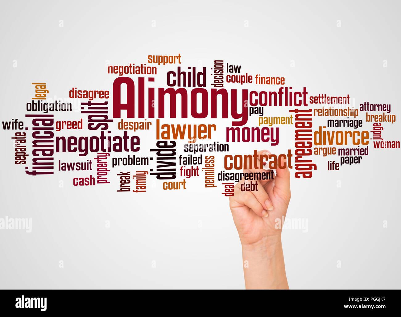 Alimony word cloud e la mano con il concetto di marcatore sul gradiente dello sfondo. Immagini Stock