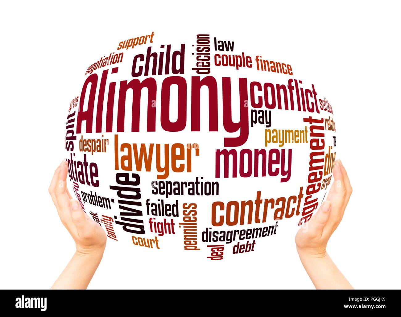 Alimony parola sfera cloud concetto su sfondo bianco. Immagini Stock