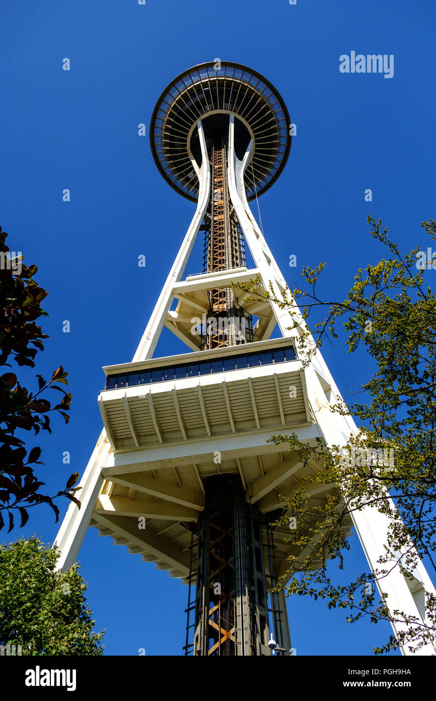 Lo Space Needle e il Seattle Center, Seattle, Stati Uniti d'America Immagini Stock