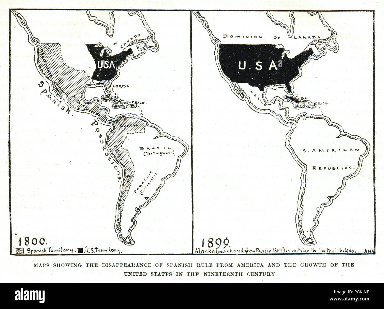 Mappa di perdite Spagnolo in America, che mostra la scomparsa di regola spagnola e la crescita degli Stati Uniti nel XIX secolo Immagini Stock