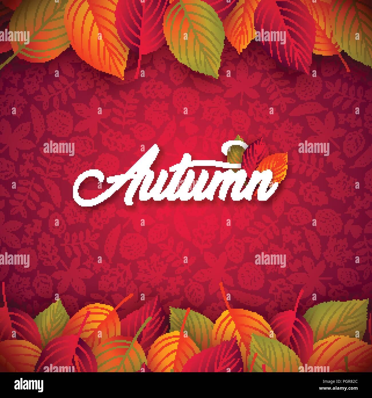 Illustrazione di autunno con foglie che cadono e scritte su sfondo rosso. Autunnale di disegno vettoriale con mano scarabocchi disegnati per il biglietto di auguri, Banner, flyer, Invito, opuscolo o poster promozionali. Immagini Stock