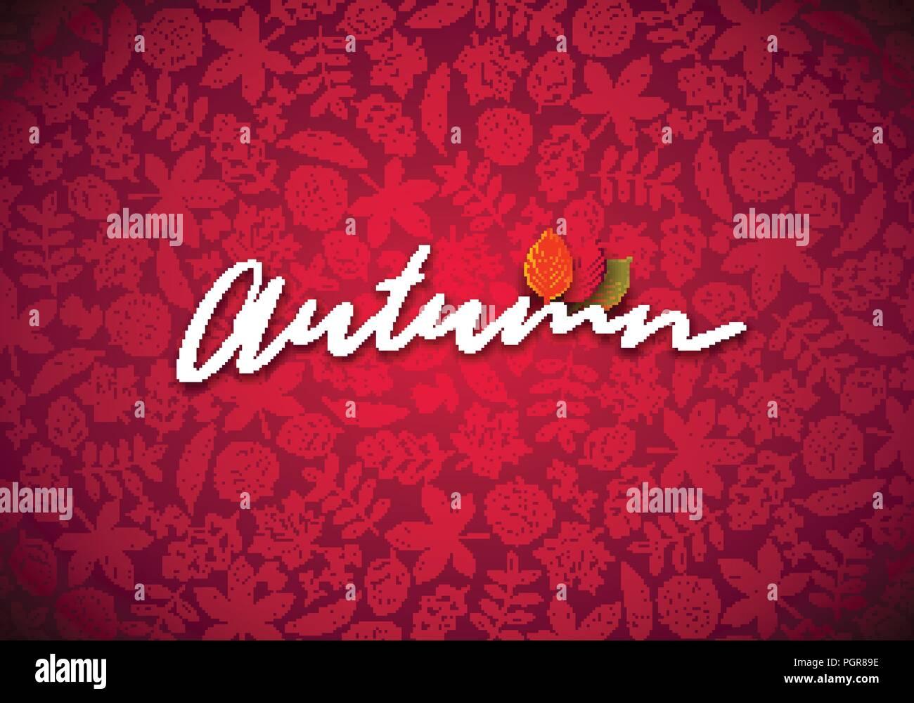 Illustrazione di autunno con foglie che cadono e la tipografia di scritte su sfondo rosso. Autunnale di disegno vettoriale con mano scarabocchi disegnati per il biglietto di auguri, Banner, flyer, Invito, opuscolo o poster promozionali. Immagini Stock