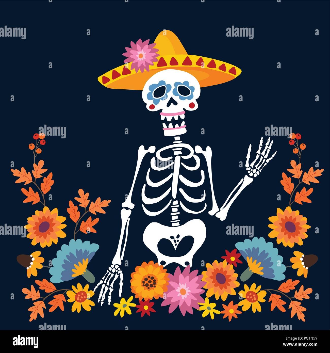 Il dia de los muertos bigliettino invito mexican giorno dei
