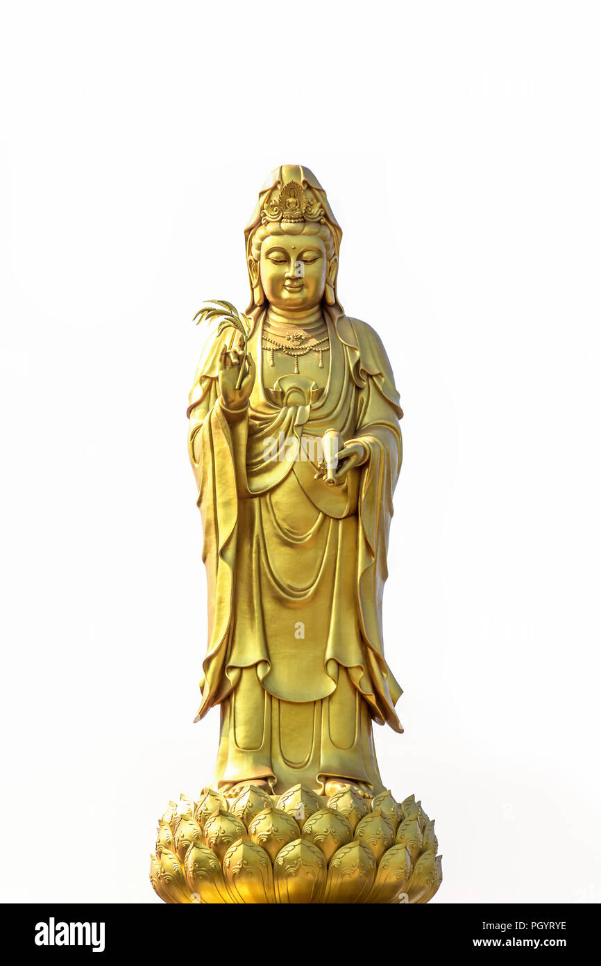"4 /"" Dorato Seduto Guan Yin Kuan Yin Cinese Divinità Statua su Lotus Kwan"