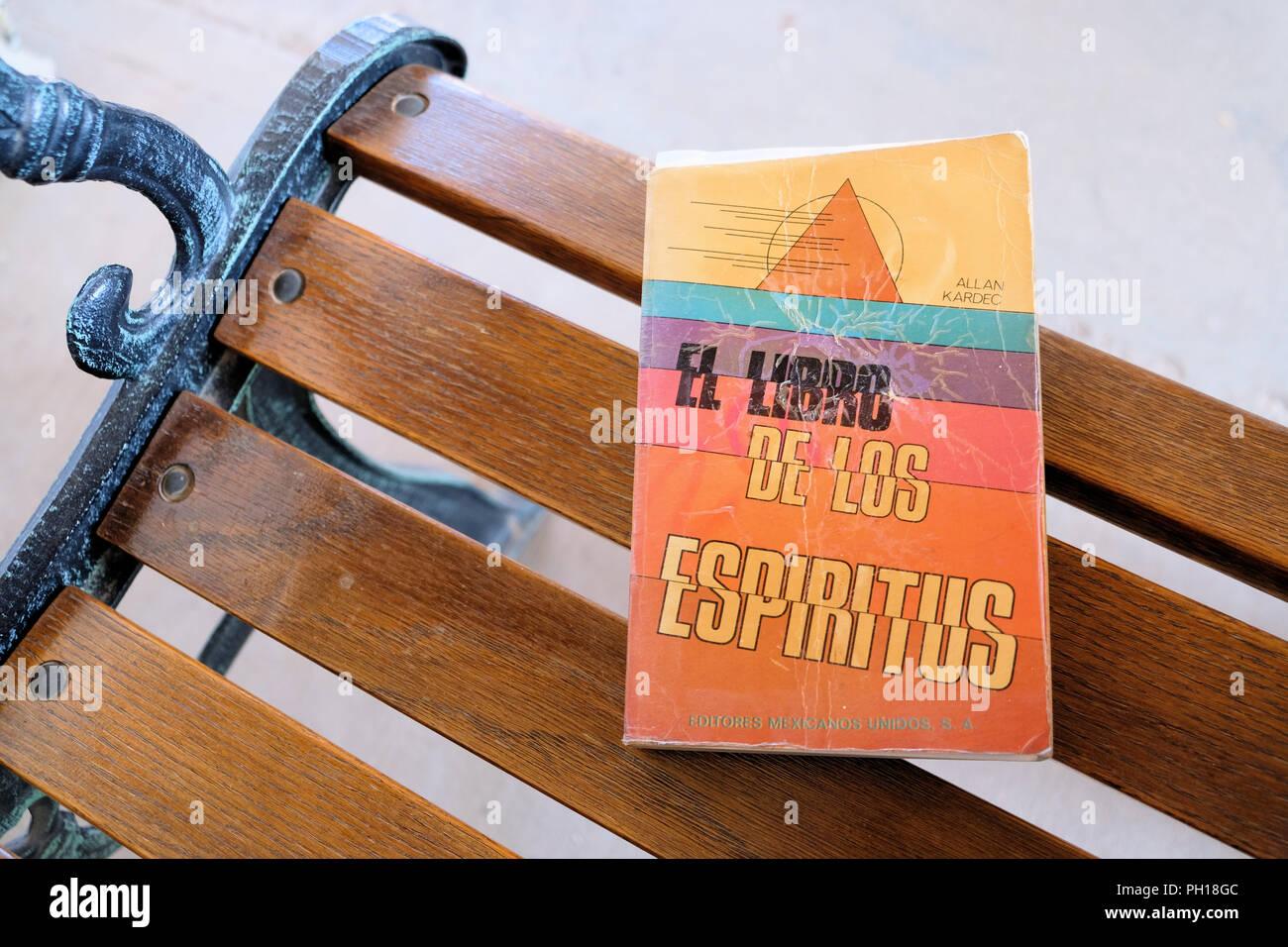 Versione spagnola di Allan Kardec di spiriti' libro pubblicato da Editores Mexicanos Unidos nel 1990 come El Libro de los Espíritus. Immagini Stock
