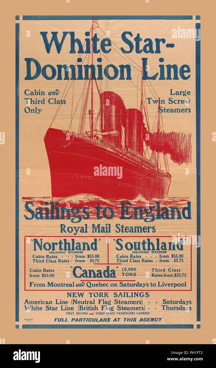7ec0c9d3d1 1900 Vintage Cruise Line Viaggi poster di spedizione. WHITE STAR DOMINION  Partenze di linea di