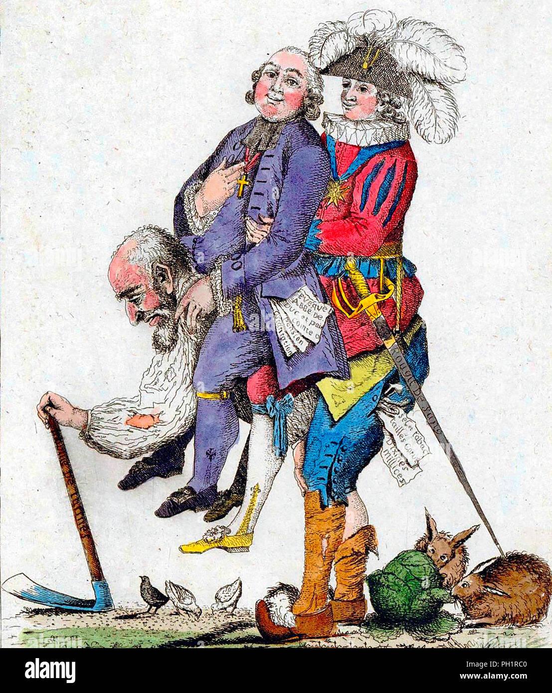 """""""Si deve sperare che questo gioco sarà più presto.' la terza estate che porta il clero e la nobiltà sulla sua schiena. Francia, 1789 Immagini Stock"""