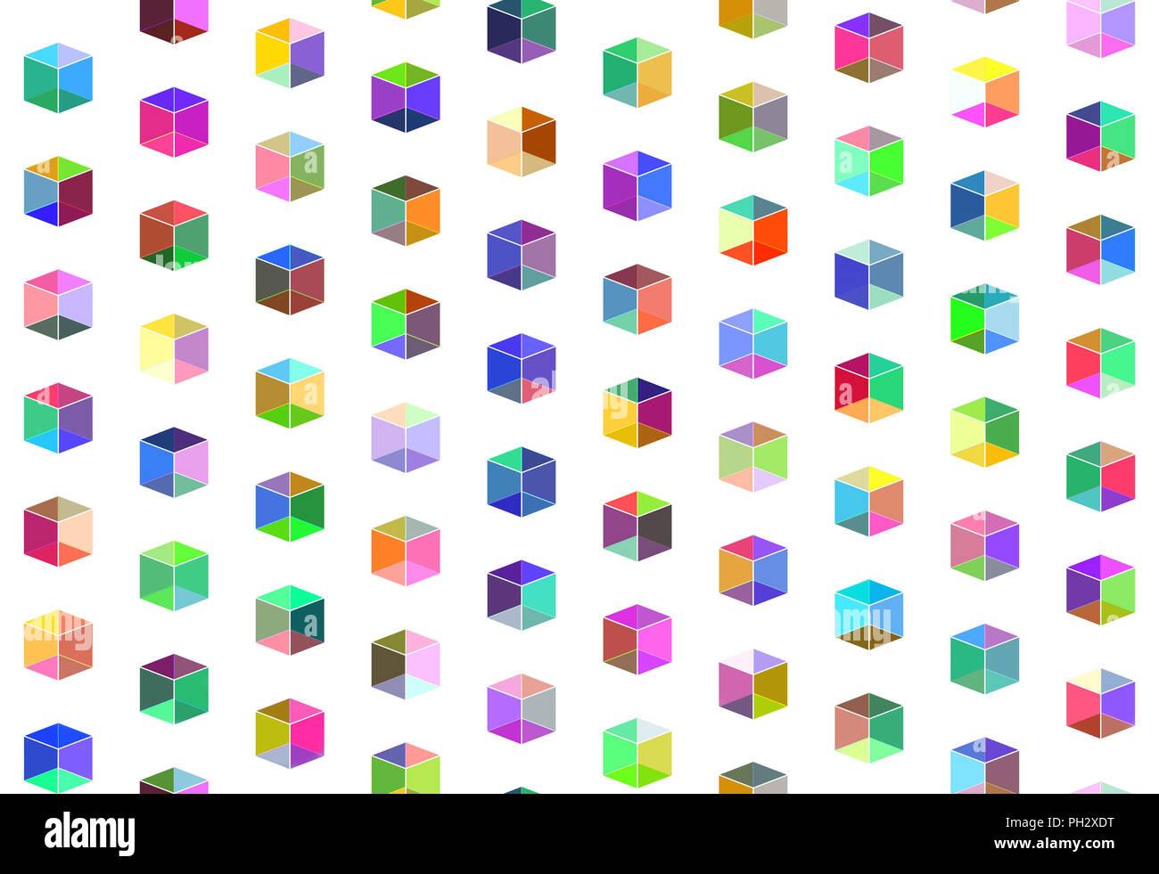 Varicolored cubi trasparenti, modello senza giunture Immagini Stock