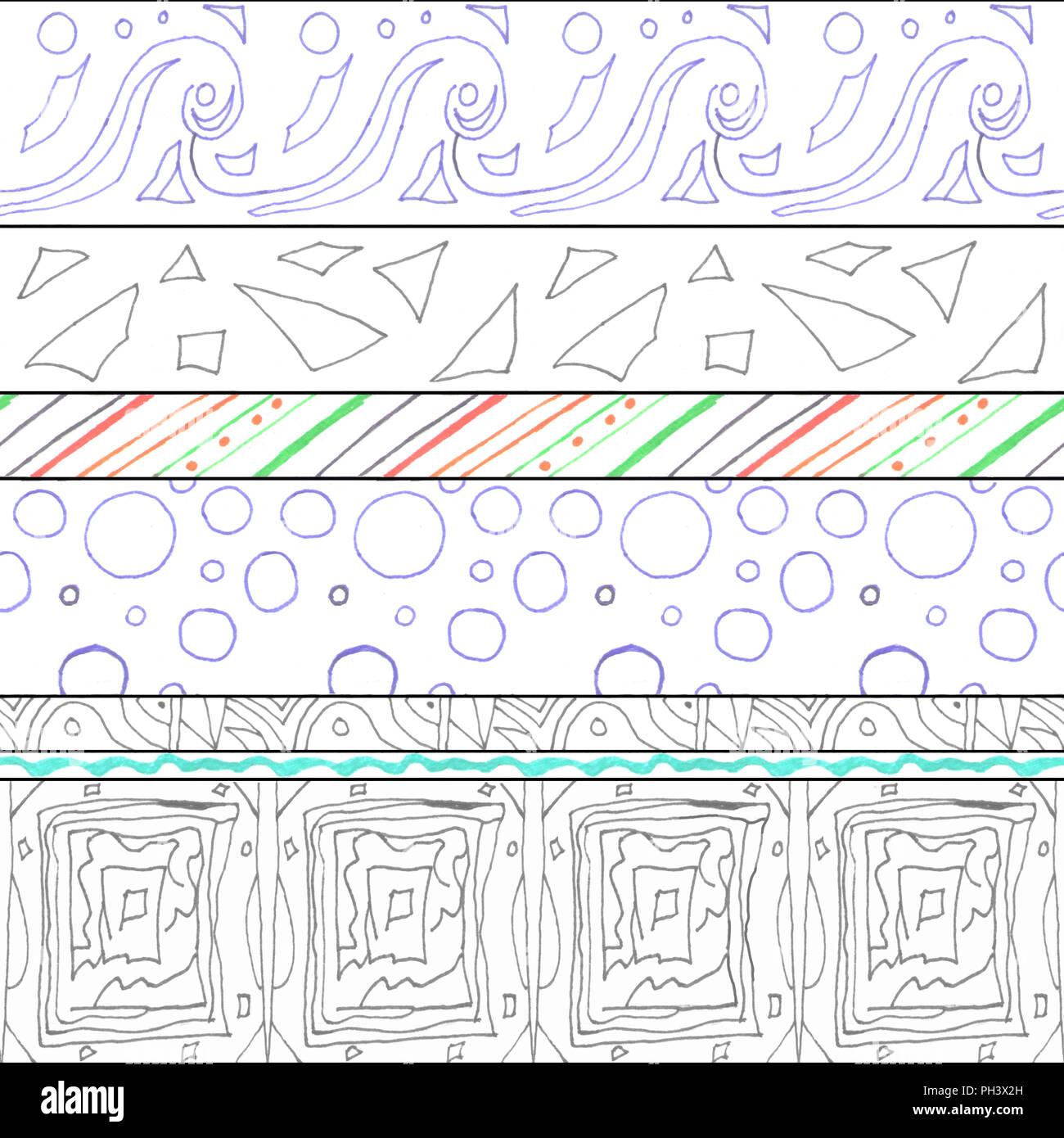 640ceefce5 Geometrica modello senza cuciture con wave e bolla. Disegnato da una penna  cappilary. Immagini