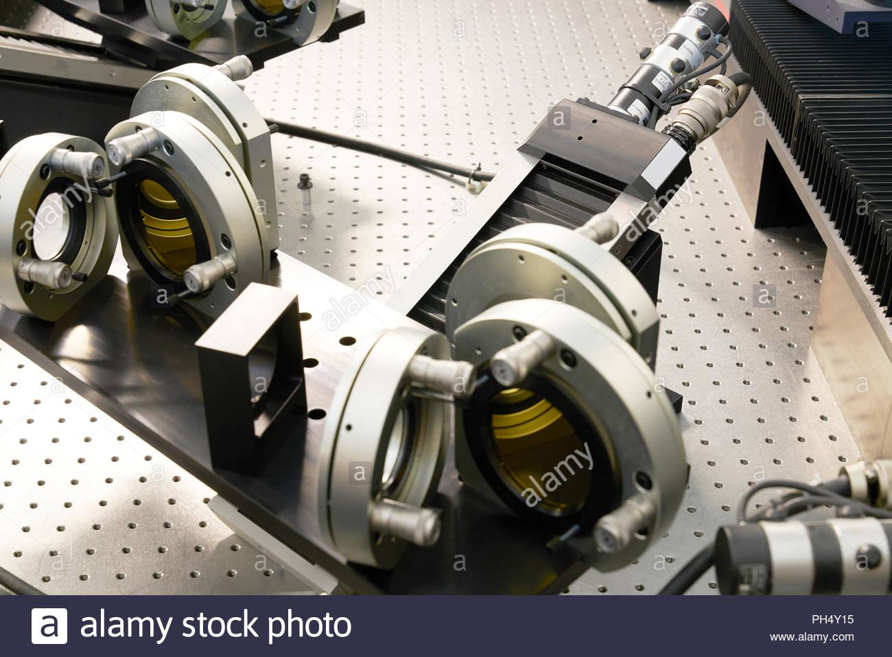 Parti di macchina in un workshop a Paranal Observatory Immagini Stock