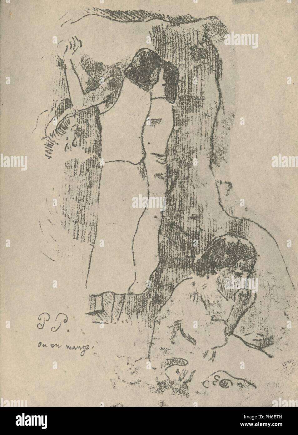 """""""Mangiare"""", 1936. Artista: Paul Gauguin. Immagini Stock"""