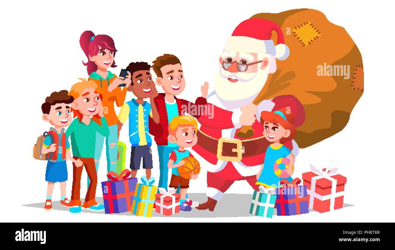 Buon Natale Bambini.Babbo Natale Con I Bambini Il Vettore Dei Bambini Felici Vacanze