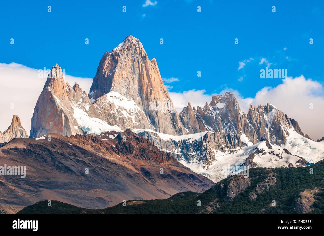 Fitz Roy montagna, El Chalten, Patagonia, Argentina Immagini Stock