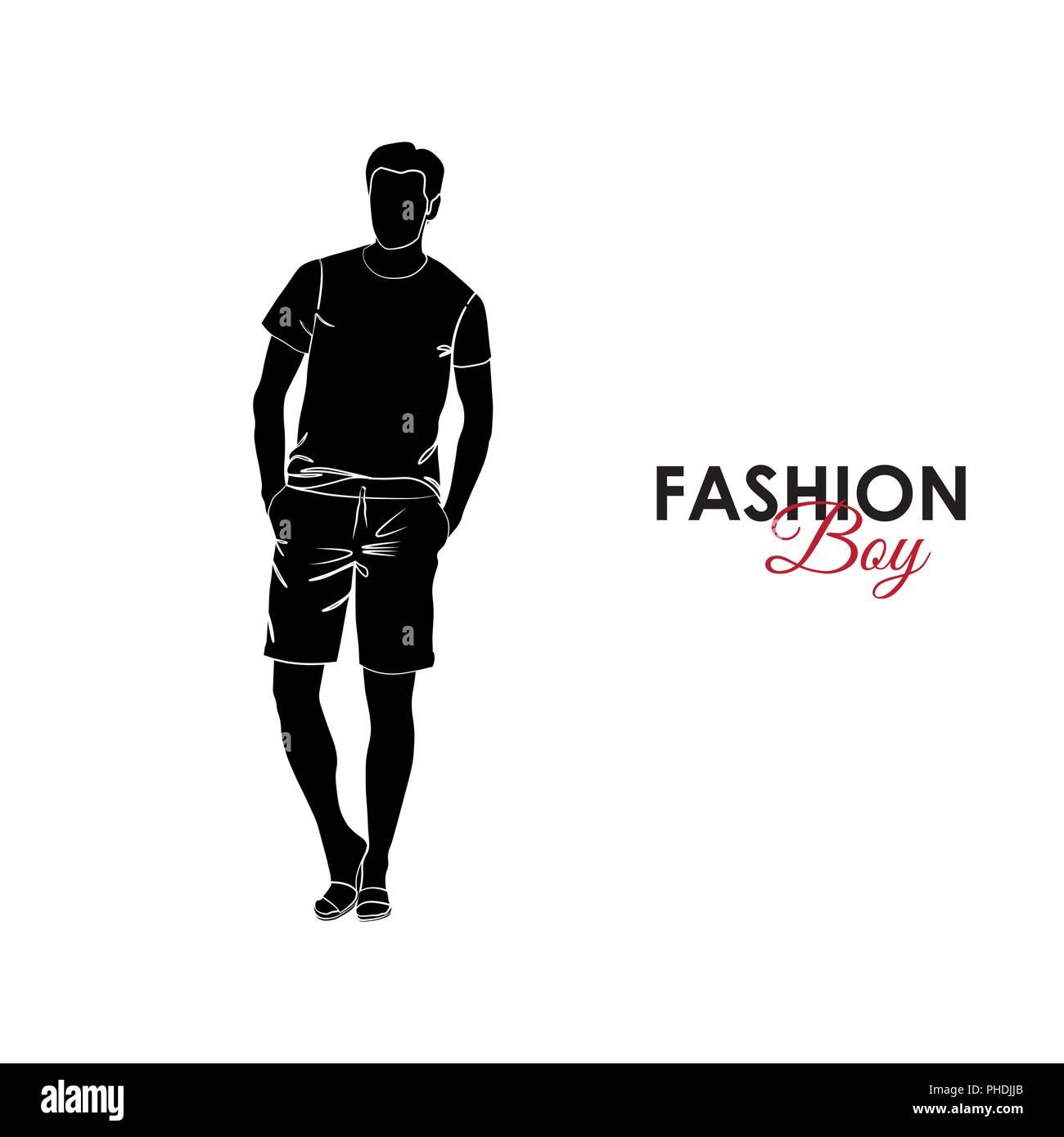the latest 5e84c c0860 Ragazzo alla moda. Moda. Silhouette di un ragazzo. Il ...