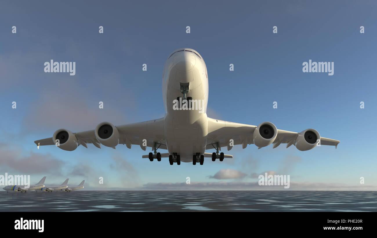 L'aereo decolla dalla pista Immagini Stock