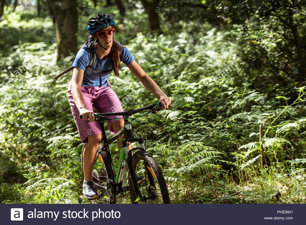 Uomo in mountain bike nella Foresta Foto Stock