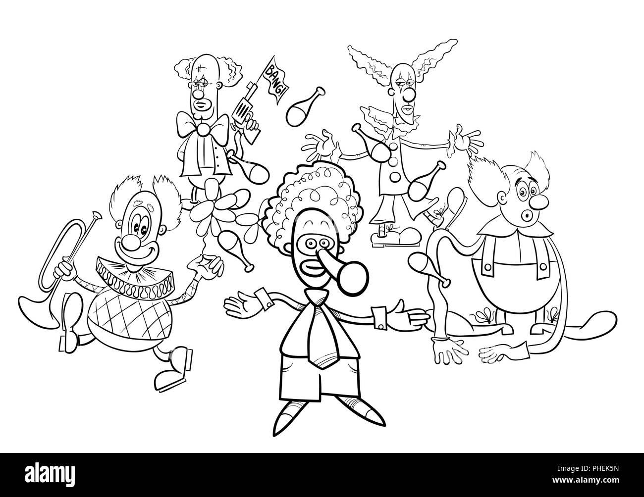 Pagliacci I Personaggi Dei Cartoni Animati Gruppo Libro Da Colorare