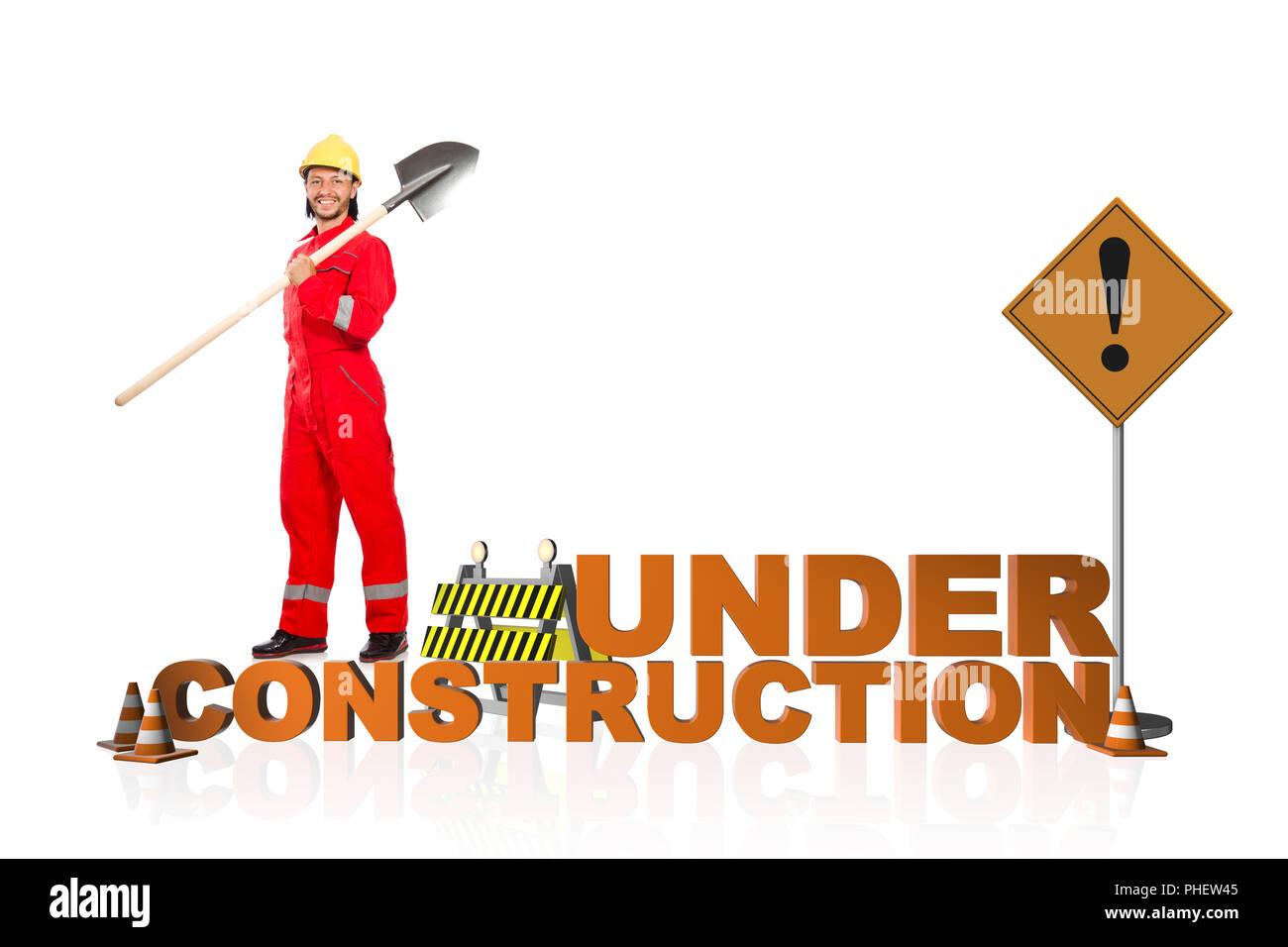 Concetto di in costruzione per la pagina web Immagini Stock