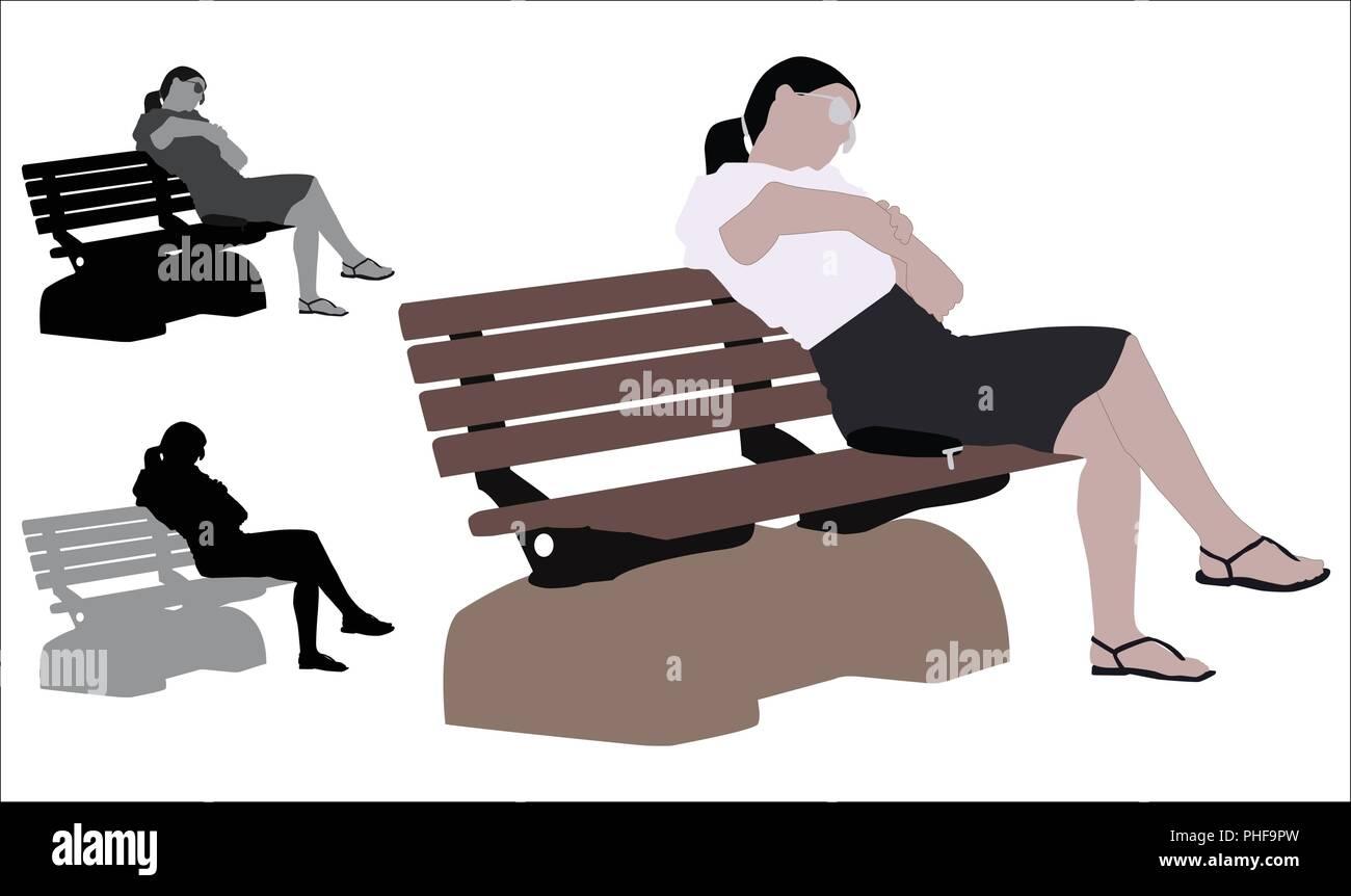 Piatto realistico illustrazione colorata di un azienda giovane donna seduta in una panchina nel parco Immagini Stock
