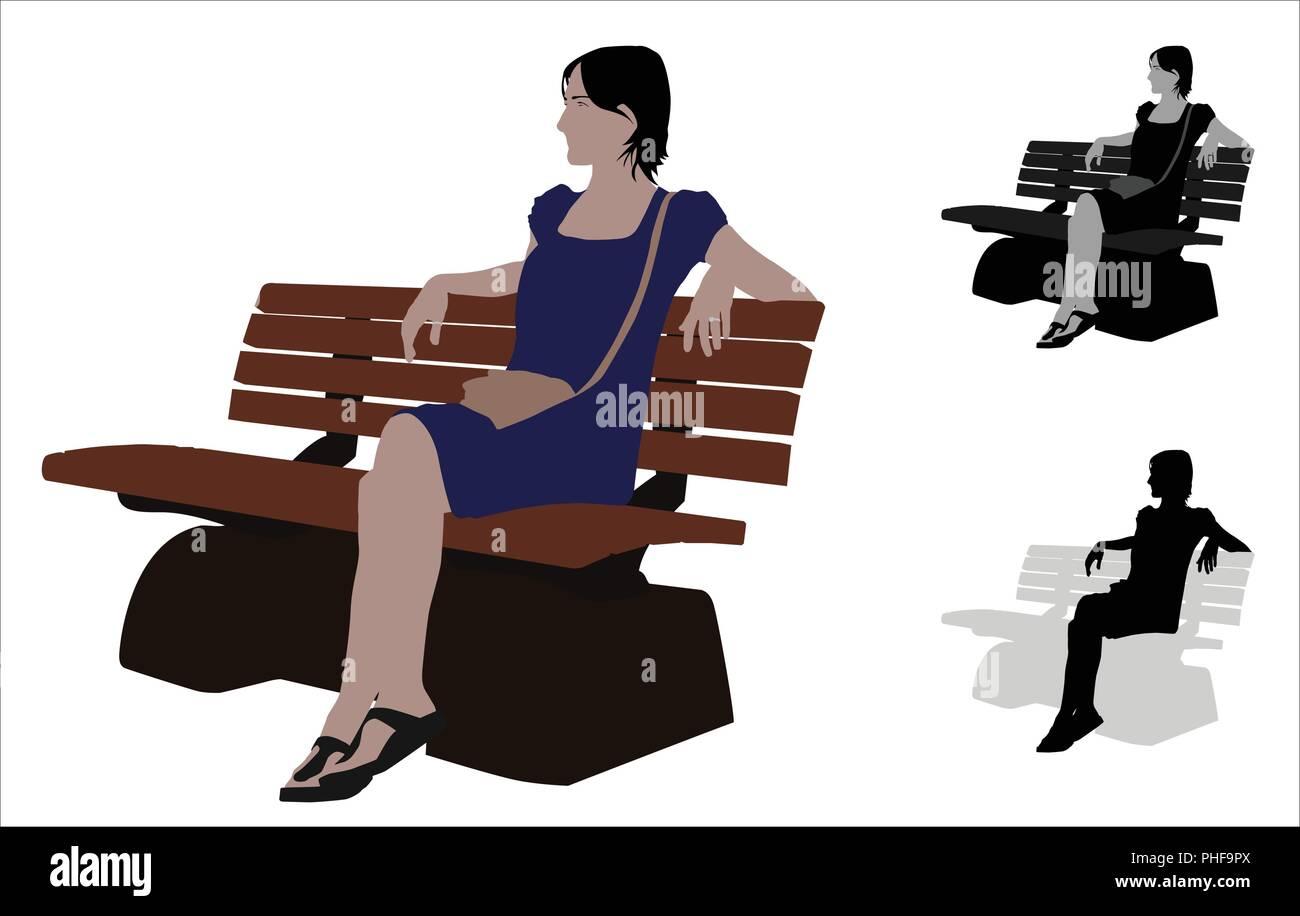 Realistico di colore piatto illustrazione di un casual donna seduta in una panchina nel parco Immagini Stock