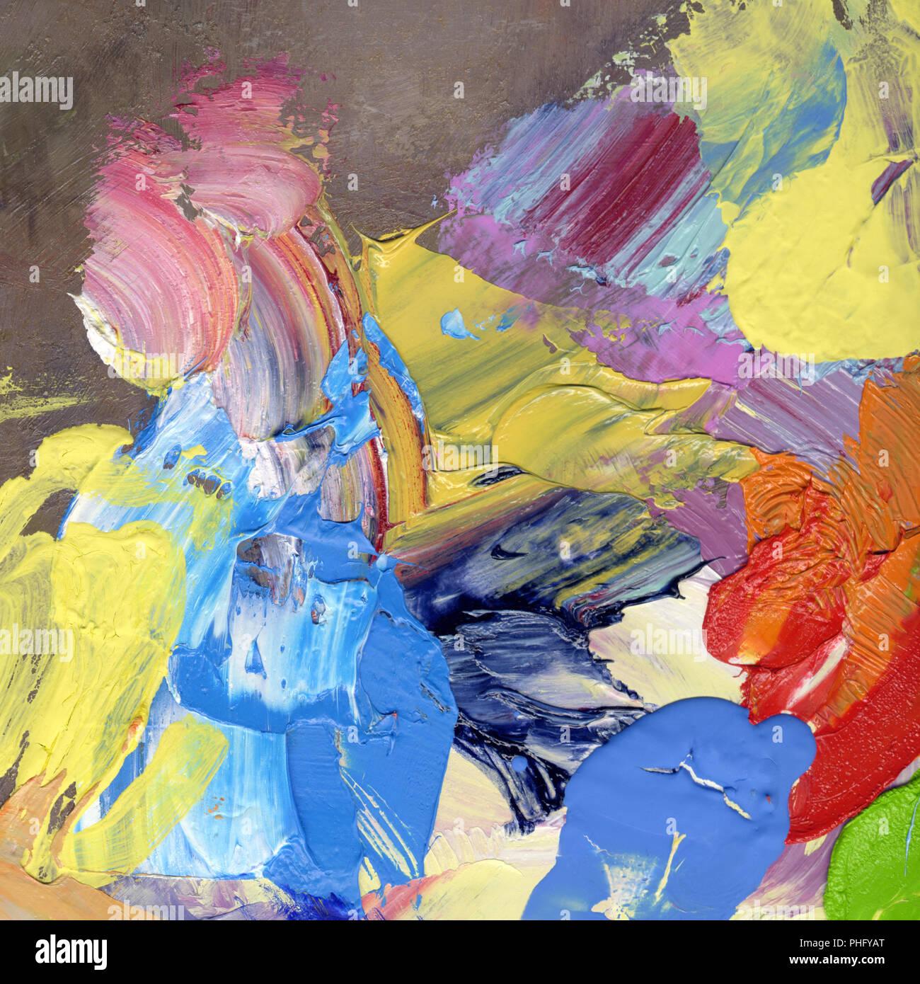 Luminose colorate e acrilico olio pennellate di vernice Immagini Stock