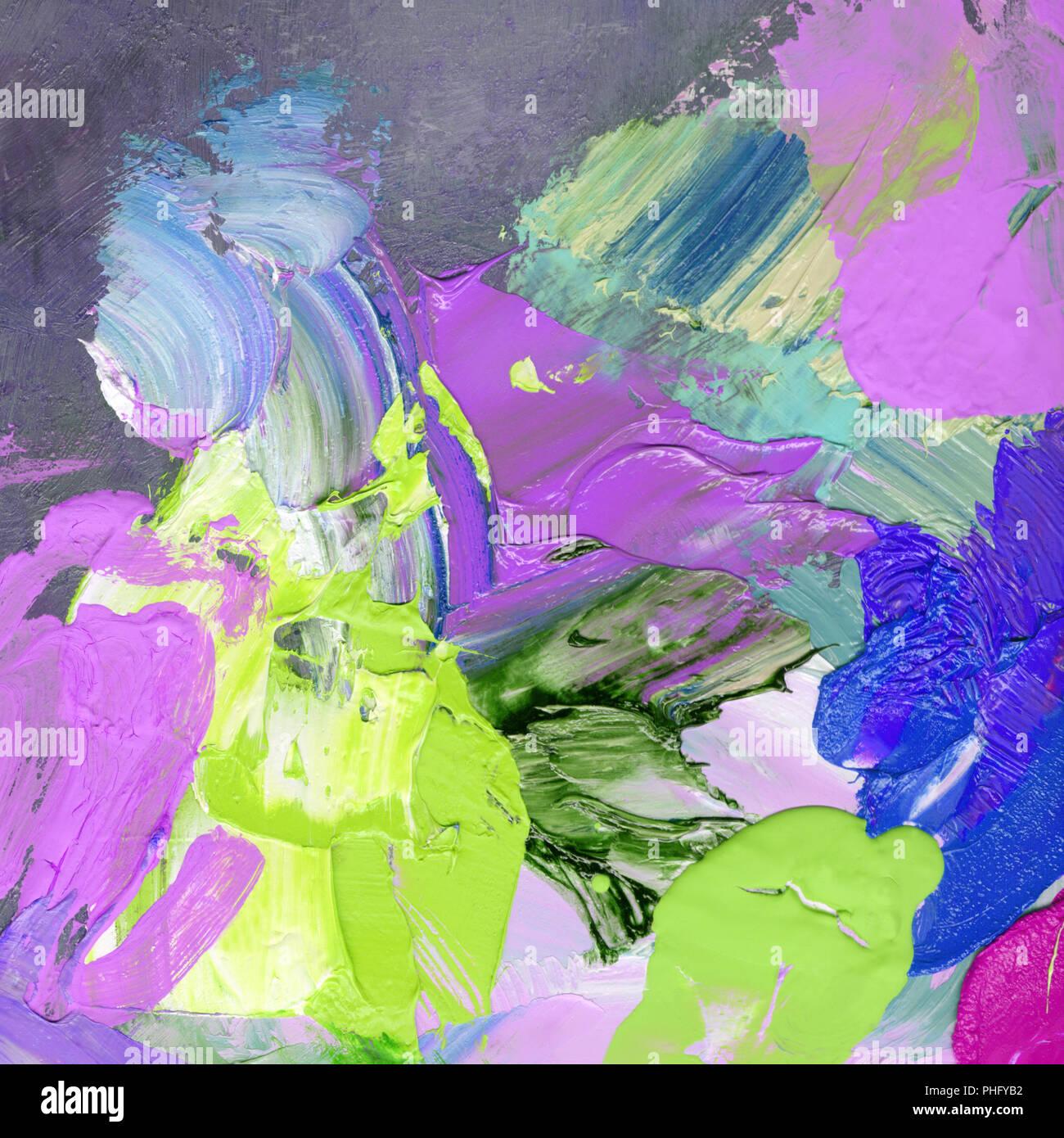 Luminose e acrilico olio pennellate di vernice Immagini Stock