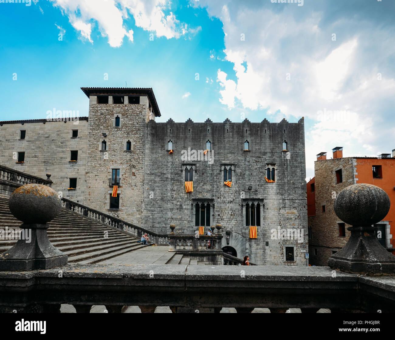Girona Spagna Luglio 9 2018 Antica Finestra Gotica Facciata Con