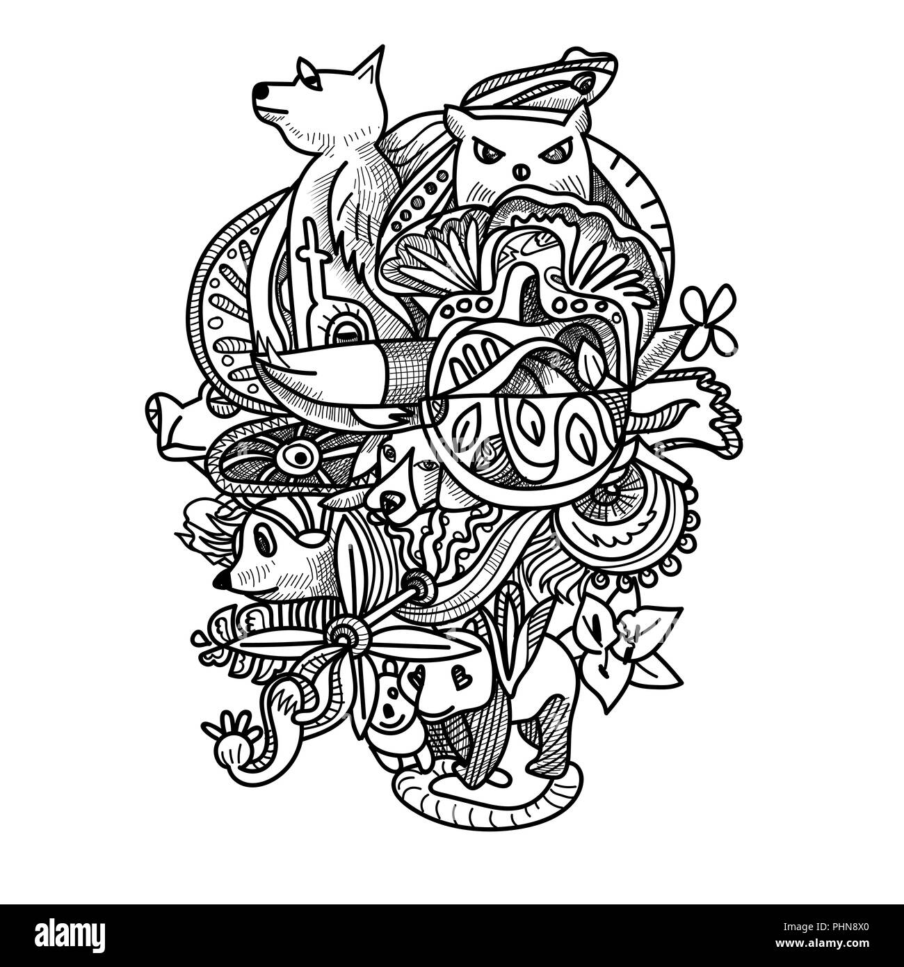 Disegno Doodle Degli Animali Fiore E Forma Astratta Disegno Per