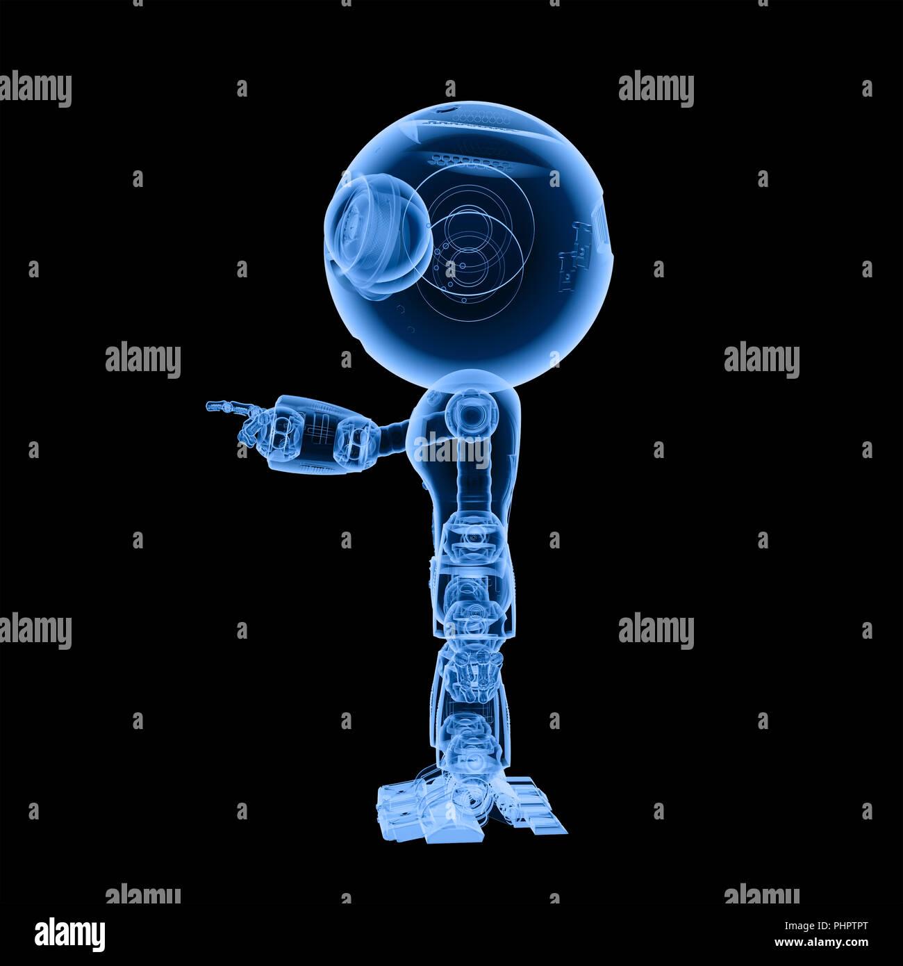 D rendering ray carino di intelligenza artificiale robot con il