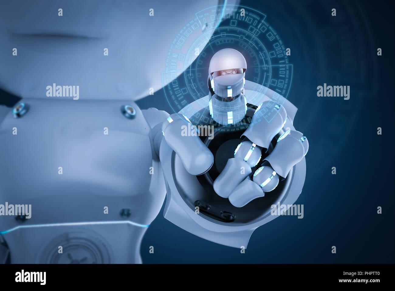 Il rendering d carino di intelligenza artificiale robot con il