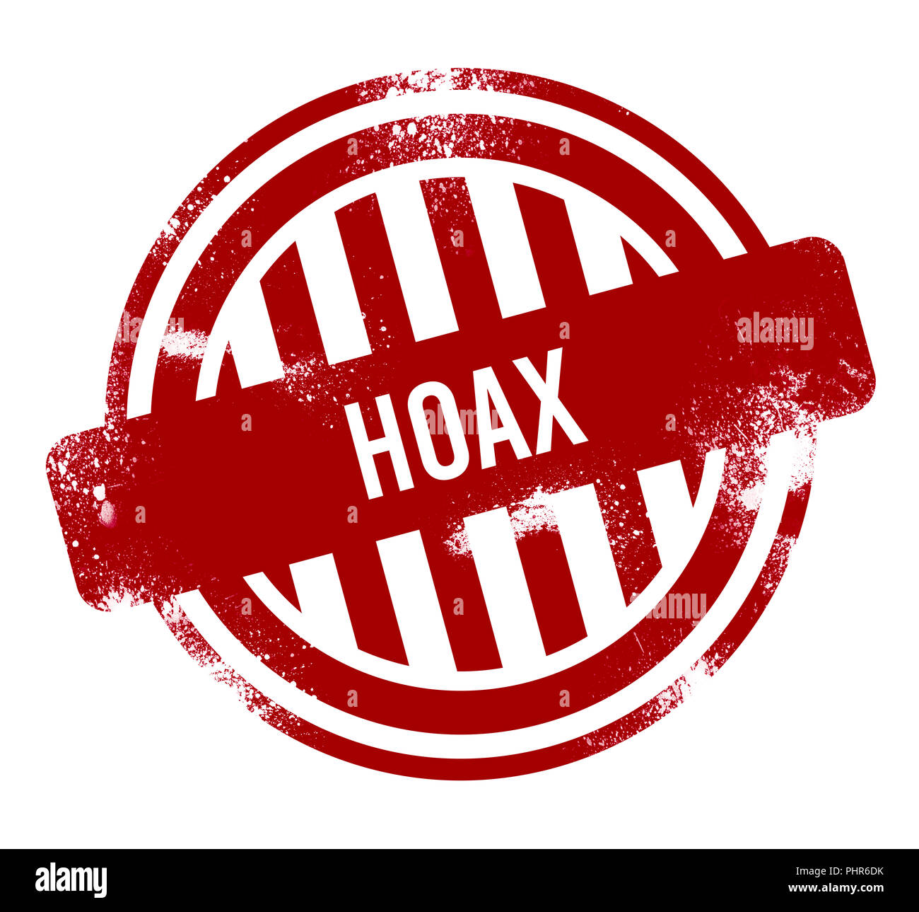 Hoax - rosso pulsante grunge, timbro Immagini Stock