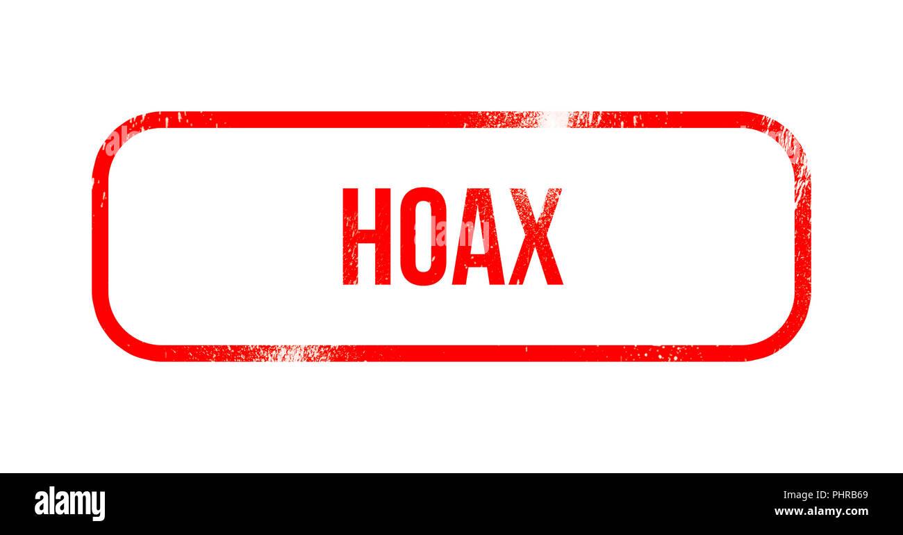 Hoax - rosso gomma grunge, timbro Immagini Stock