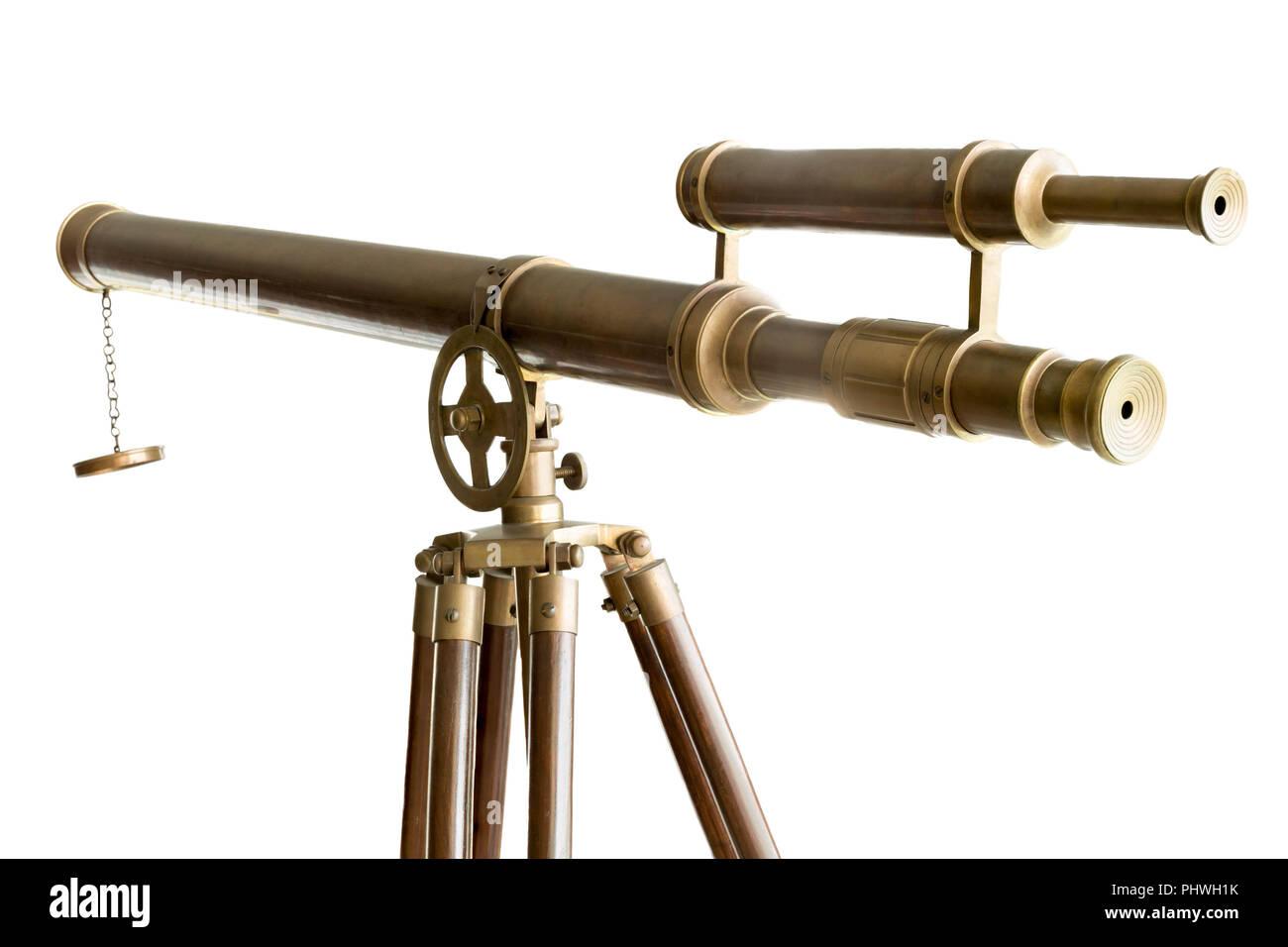 Vintage telescopio in ottone isolato Immagini Stock