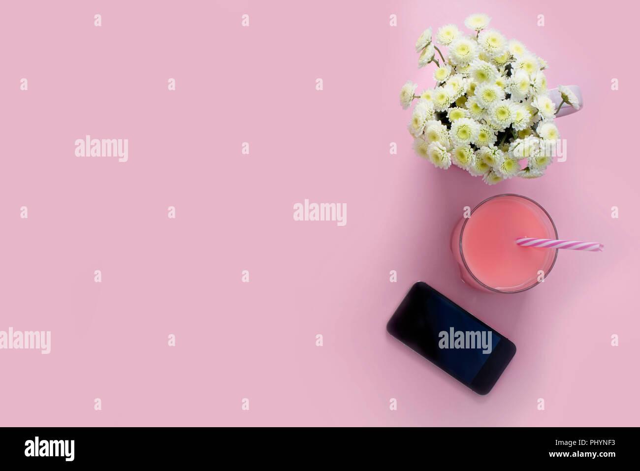 Composizione Laici Piatto Sfondo Rosa Cellulare Fiori Crisantemo