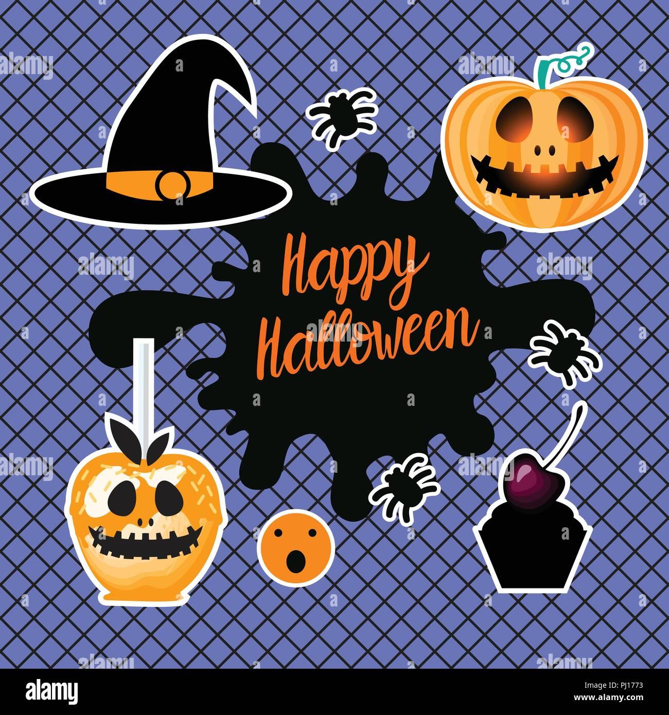 Happy halloween design set di cuori disegnare a mano - Come disegnare immagini di halloween ...