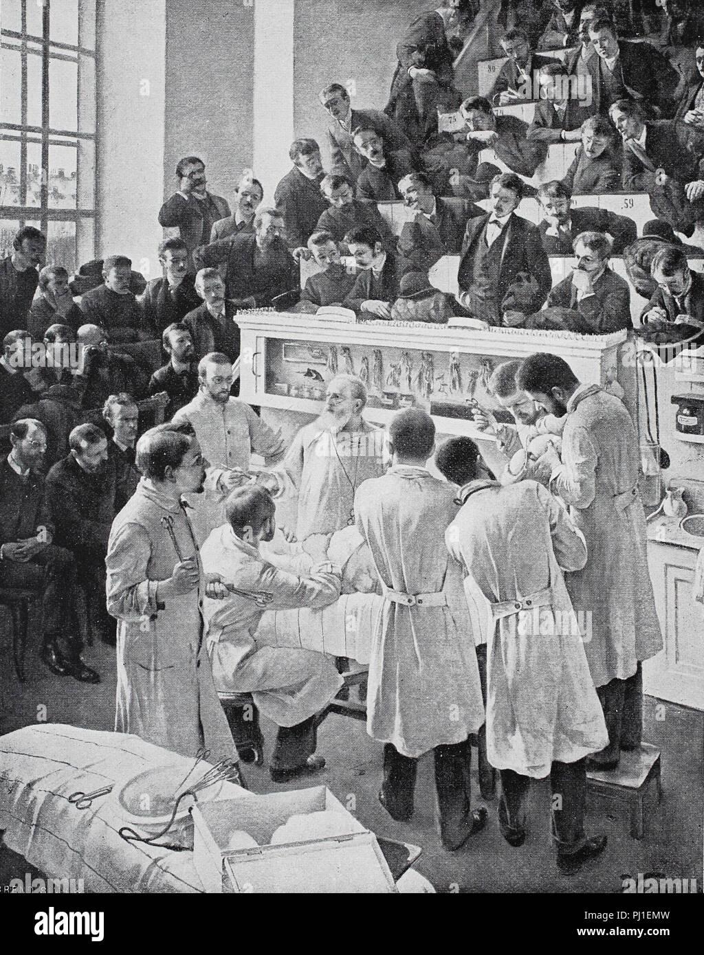 Sala conferenze per istruzioni all'ospedale di Vienna, 1890, chirurgo Christian Albert Theodor Billroth (26 Aprile 1829 - 6 febbraio 1894) insegnamento agli studenti, digitale Riproduzione migliorata di un woodprint dall'anno 1890 Immagini Stock